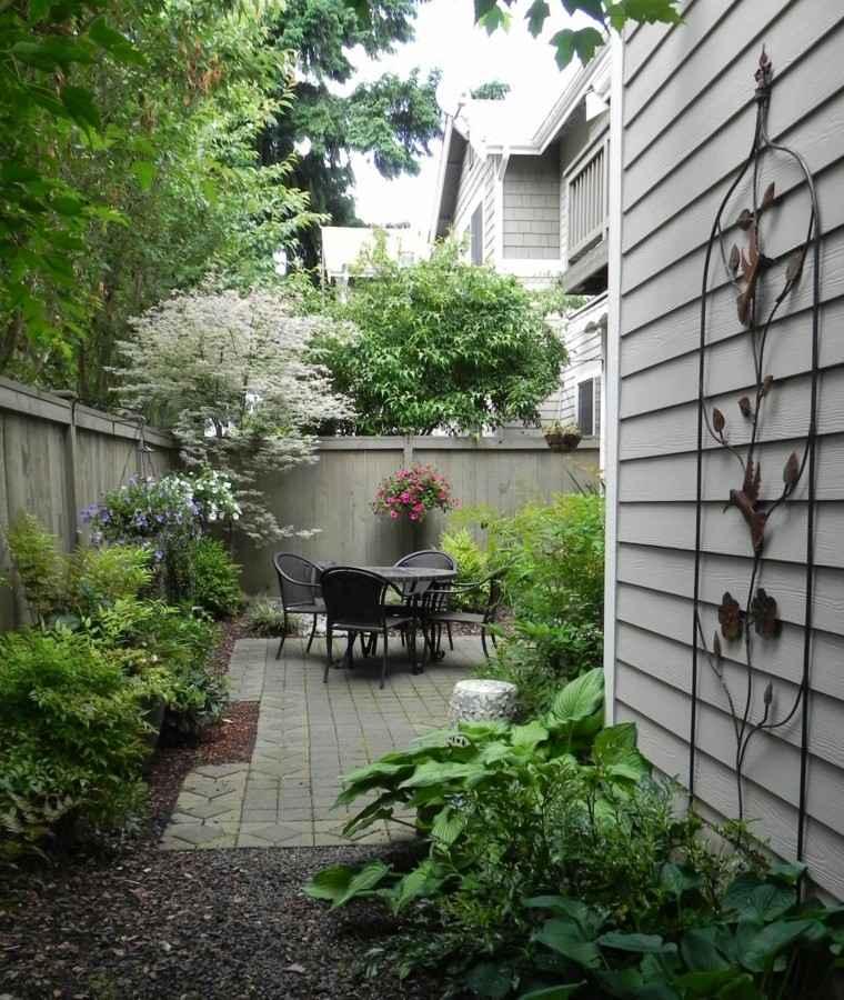 el riempo jardin estrecho muebles ideas modernas