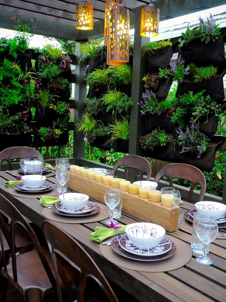 el tiempo cena fuera plantas muebles macetas madera