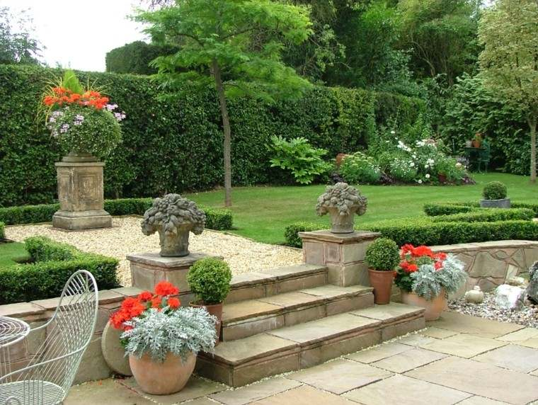 elegante jardin diseño muebles macetas