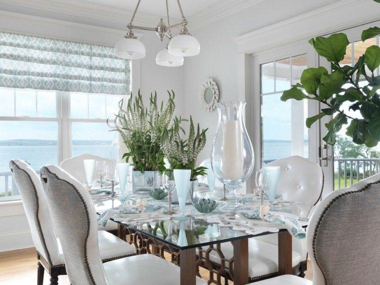 elegante mesa diseño sillas flores jarron