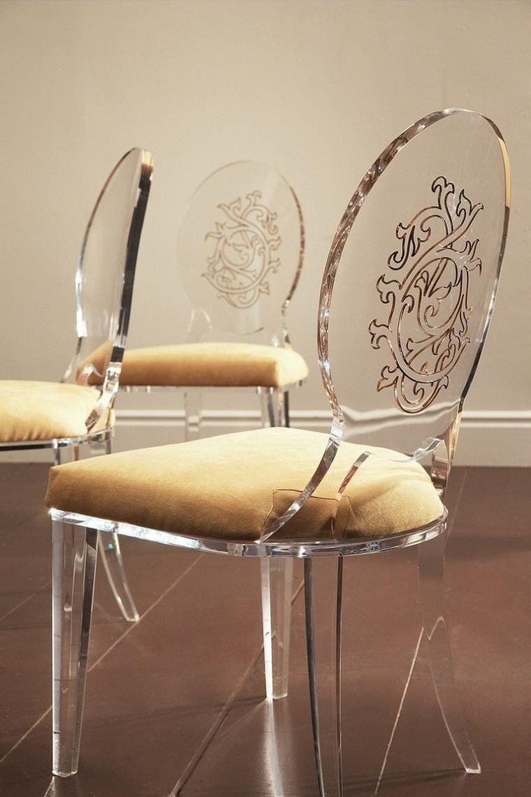 elegante silla acrilico tela moderno