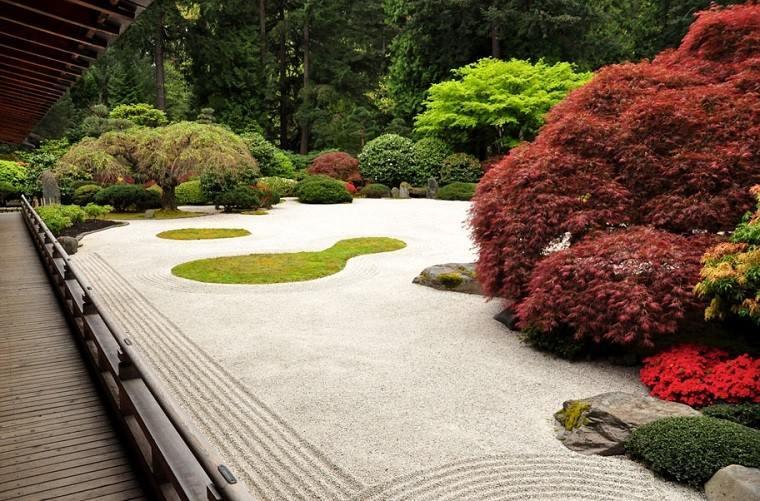 enorme jardín zen guijarros piedras
