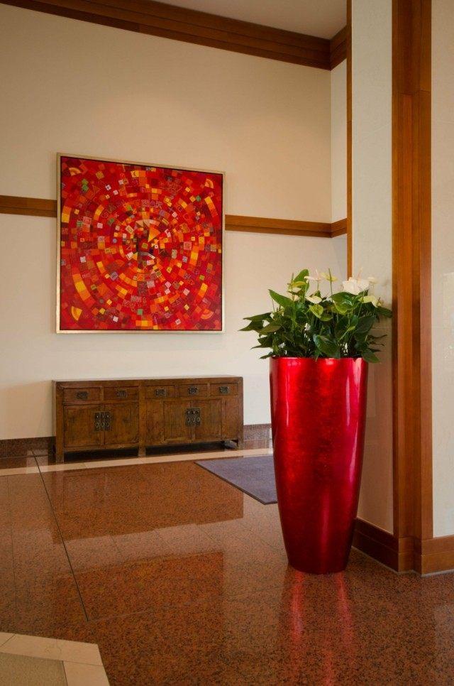 entrada cuadro arte moderno diseño maceta grande roja