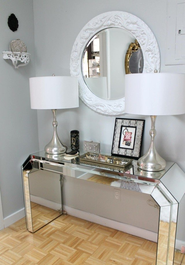 entrada dos lamparas espejo marco blanco diseo