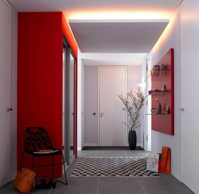 entrada diseño moderna rojo estanterias cristal alfombra
