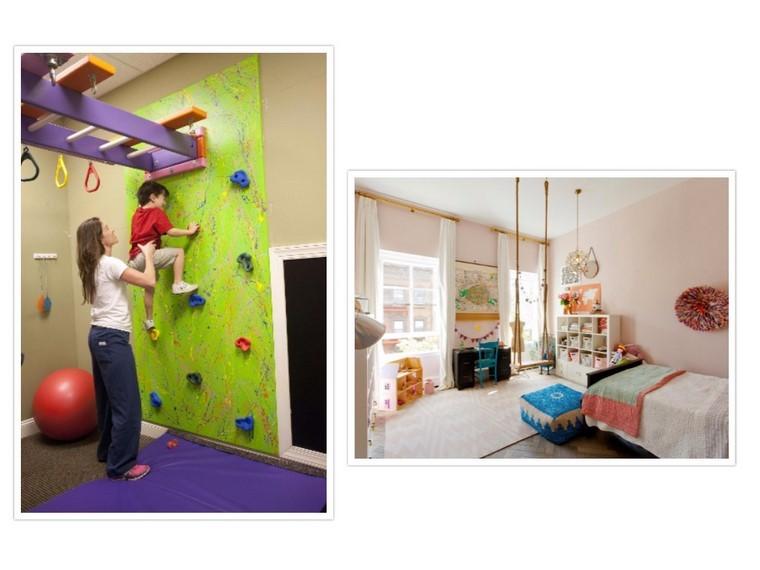 escalador muro pared pelotas columpio habitacion
