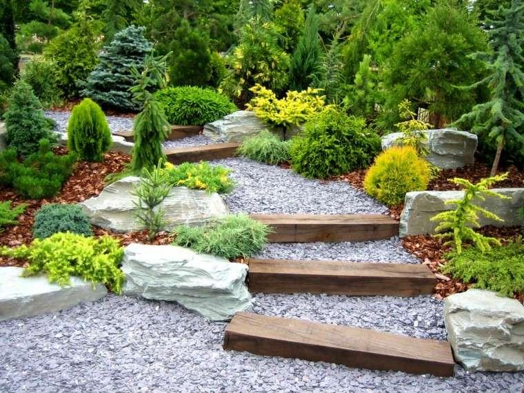 escalera rocas madera jardin escalones