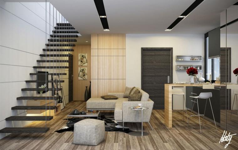 escaleras colgantes sala estar moderna