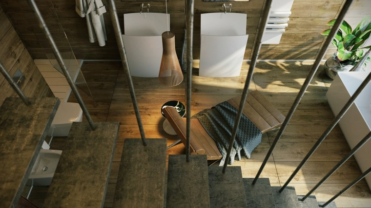 escaleras modernas colgantes muebles baño