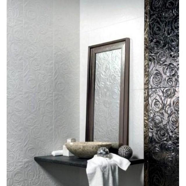 espejo baño decoracion esferas textura