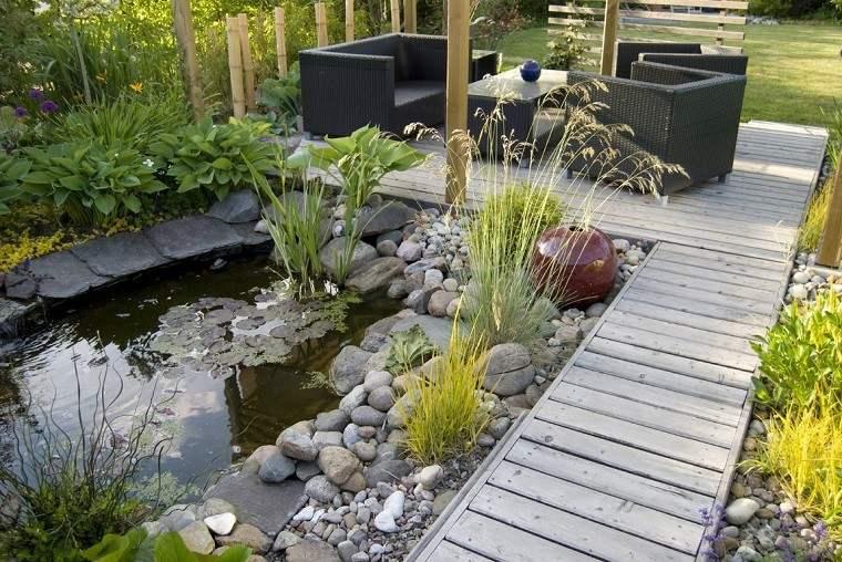 estanque jardin camino madera piedras