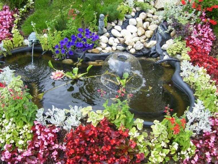 estanque jardin flores varios colores ideas bonitas