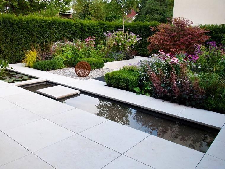 estanque jardín estrecho largo plantas