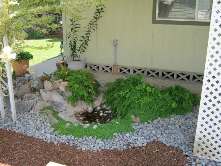 estanque pequeño rocas jardin plantas