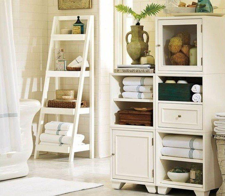 estante almacenado blanco madera practicos