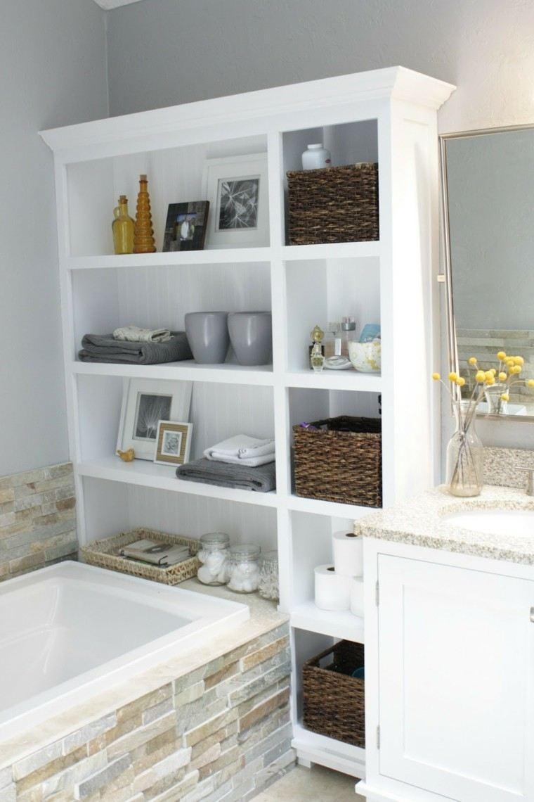 estante atractivo madera blanco mimbre