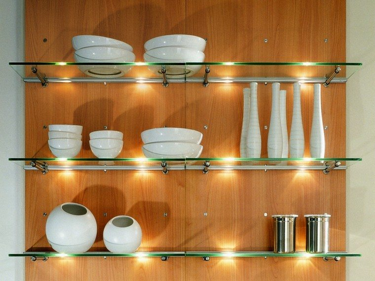 estante luces vidrio decoracion focalizada
