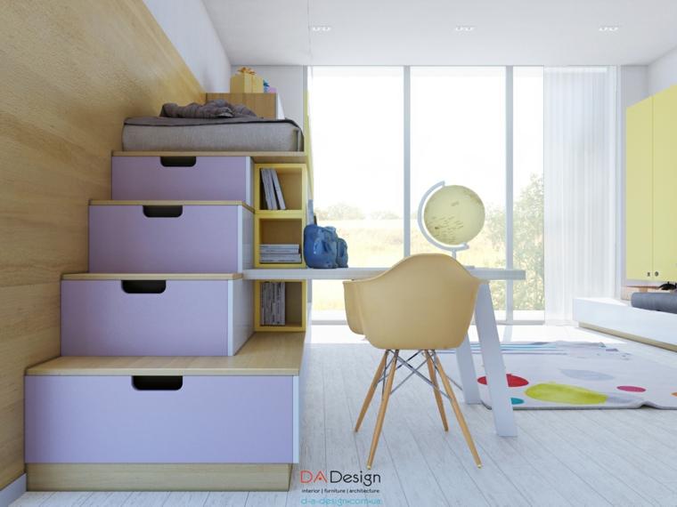estanterias cajas escaleras lila silla