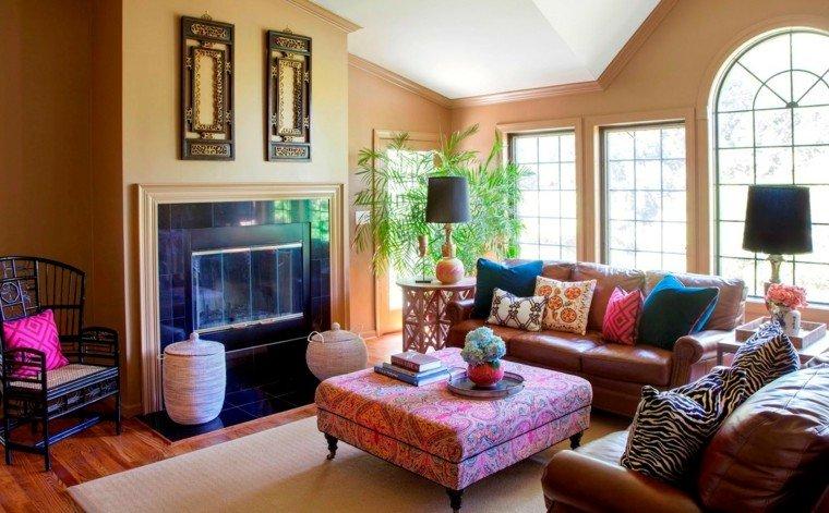 estilo bohemio sofa grande cuero taburete ideas