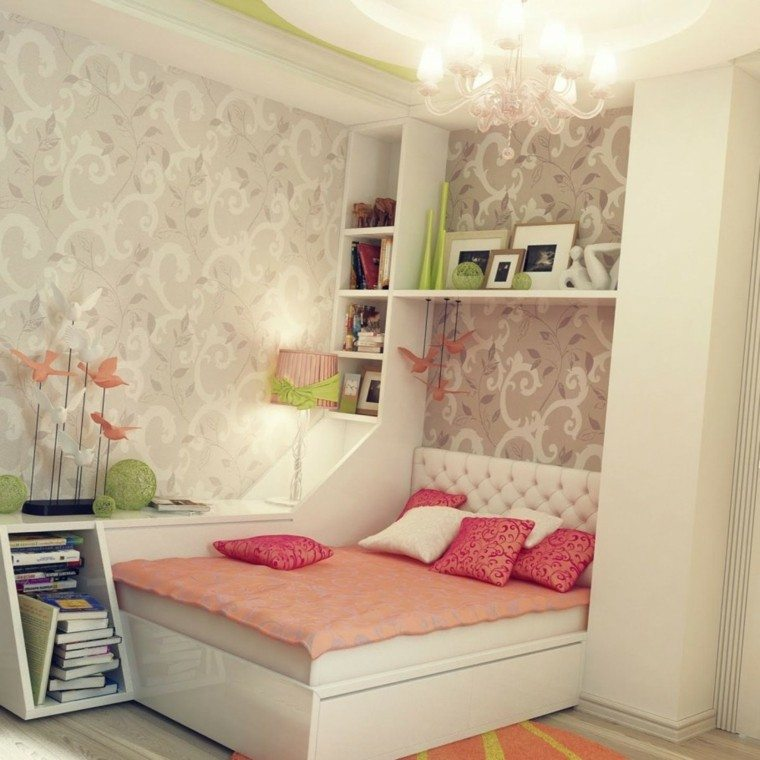 estilo chic moderno elegante papel pared habitacion ideas