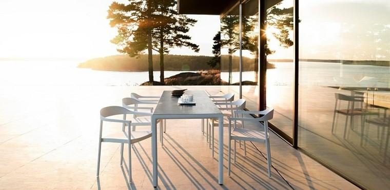 estilo clasico escandinavo mesa sillas modernas blancas