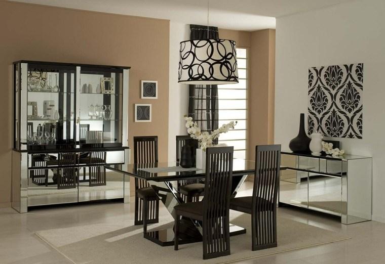 estilo sillas respaldo madera mesa negra ideas
