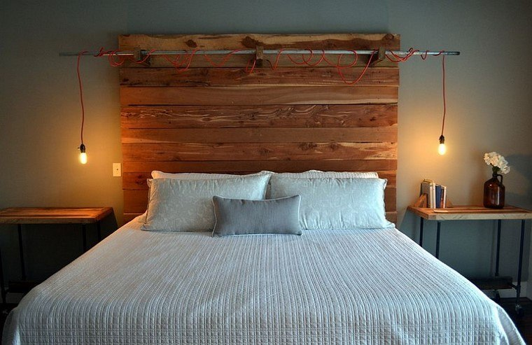 estilo industrial lamparas cebecero madera ideas