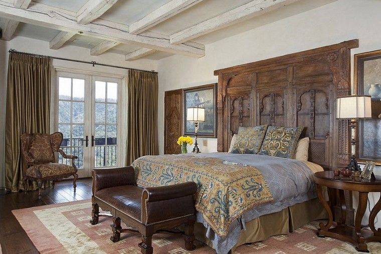 estilo mediterraneo dormitorio elegante ideas madera diseno
