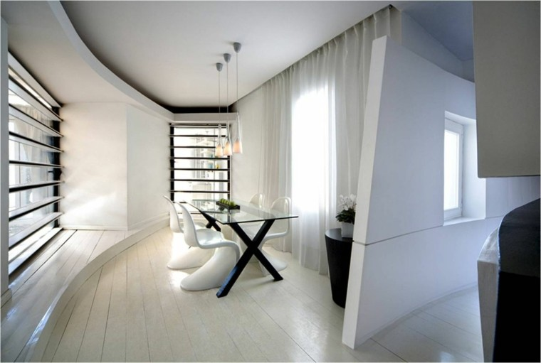 estilo minimalista mesa pie negro sillas blancas moderno