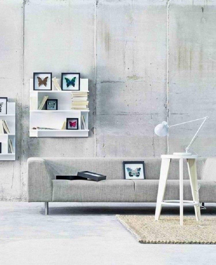 estilo minimalista sofa mariposas estantes