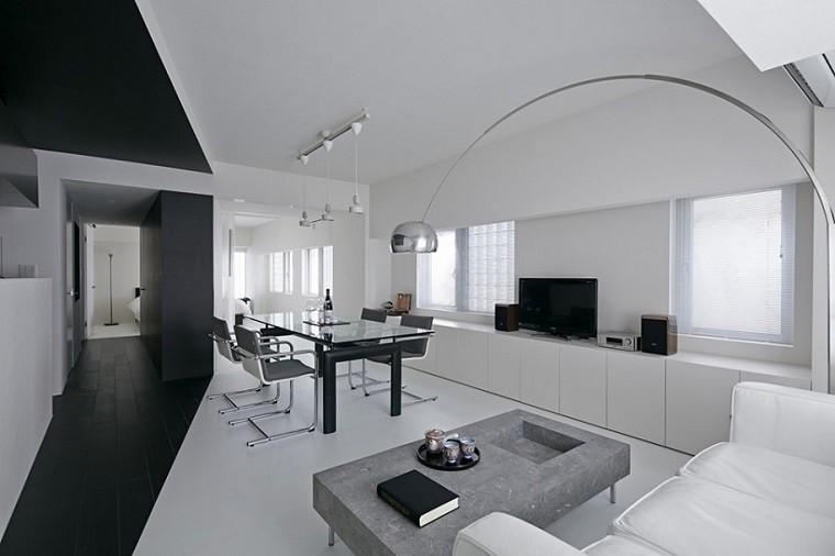 estilo moderno ideas comedor blanco negro sillas acero - Sillas De Salon Modernas