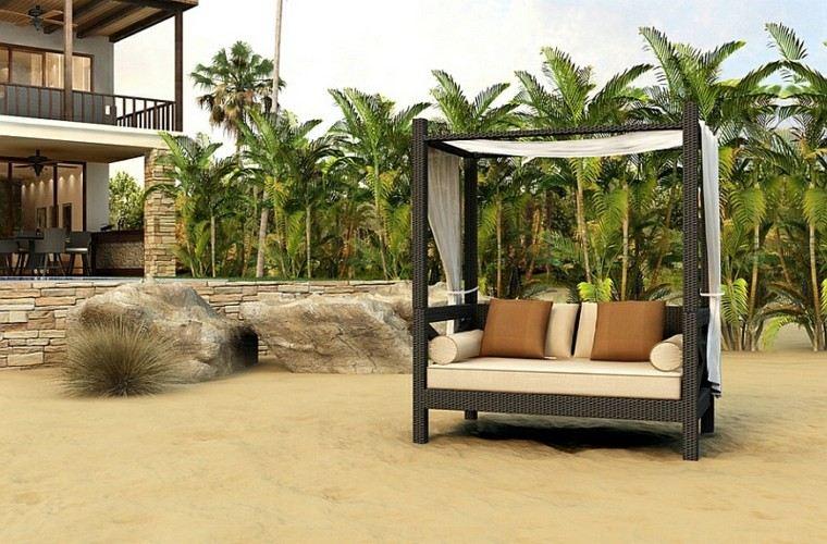 estupenda cama mimbre playa