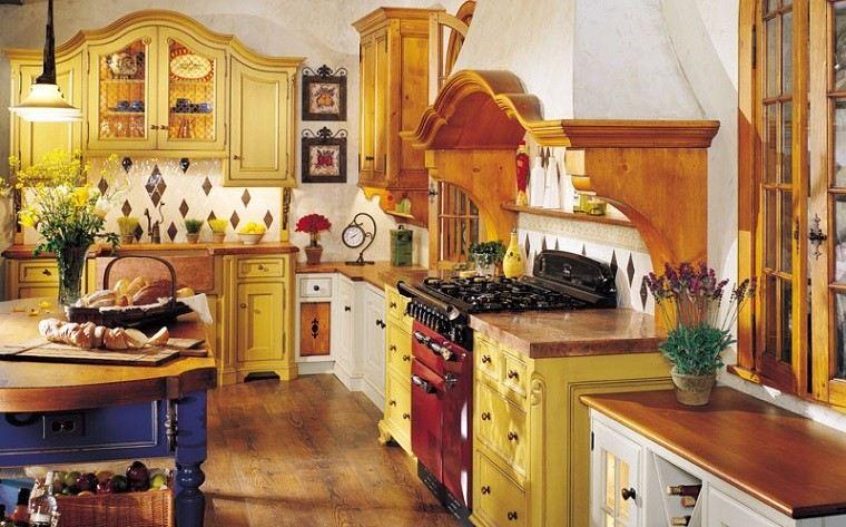 estupenda cocina rustica boho colores
