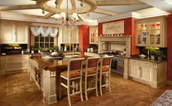 estupenda cocina clásica isla cuadrada