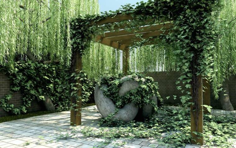 Pergolas jardin de madera una zona de recreo ideal - Enredaderas de interior ...