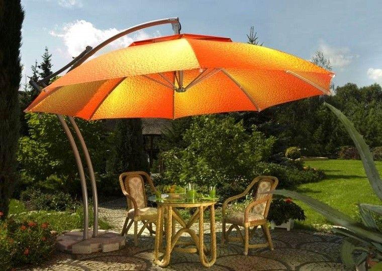 estupenda sombrilla color naranja sol