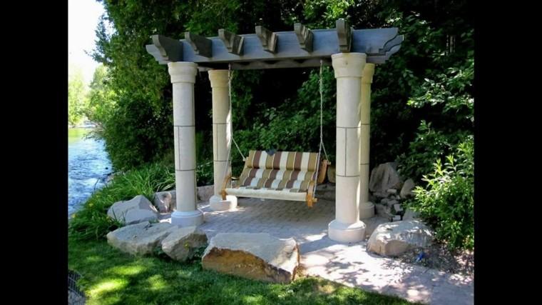 estupendo columpio pergolas jardin rocas