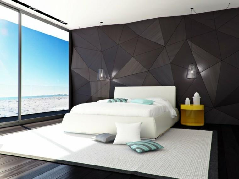 estupendo cuarto moderno pared marron