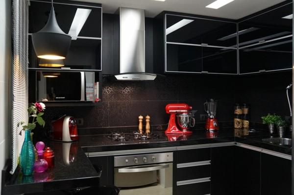 estupendo diseño cocina color negro