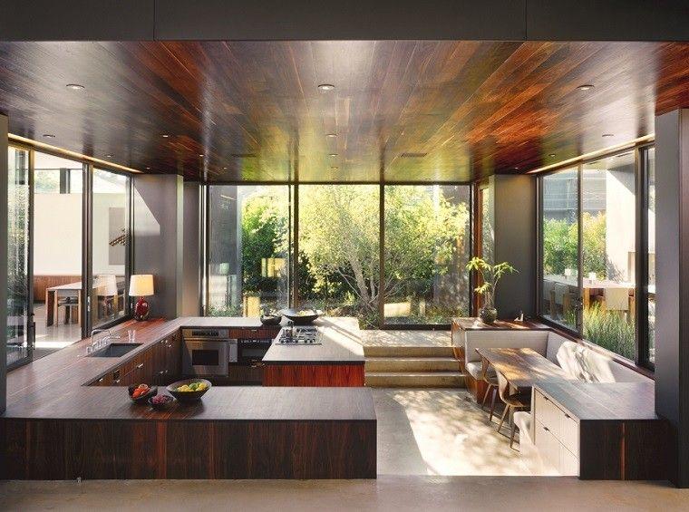cocina laminado oscuro madera
