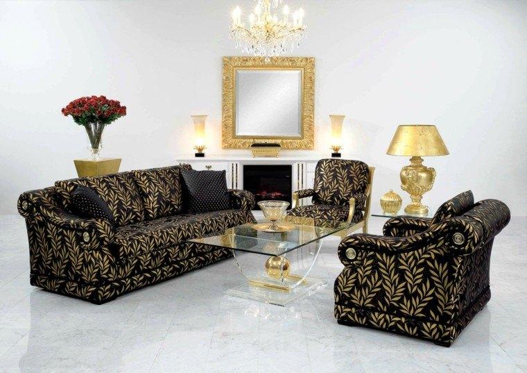 estupendo sofá color oro negro