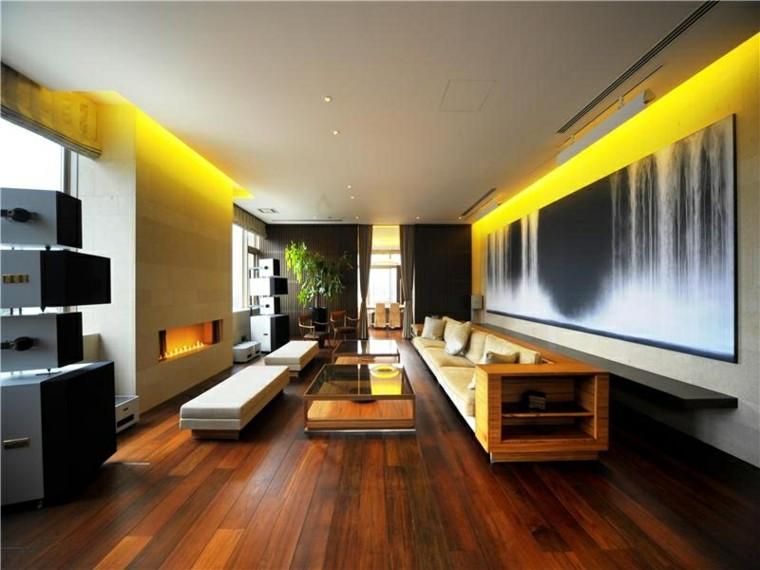 etupendo salon color amarillo chimenea