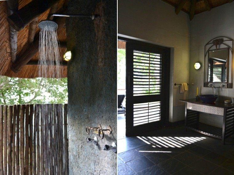 exterior ducha baño cabaña techada