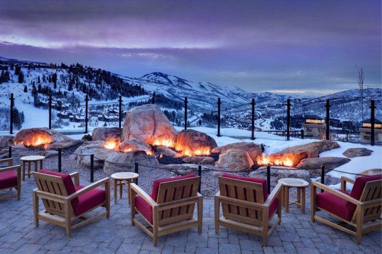 exterior fuego rocas muebles nieve