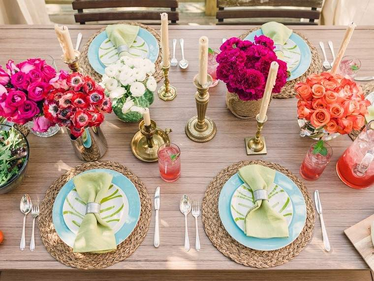 exterior ideas mesa flores rosa rojo aroma