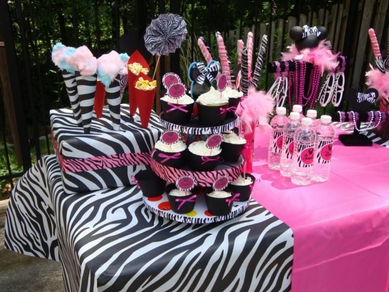 fiestas infantiles estampa zebra rosa nina jardin