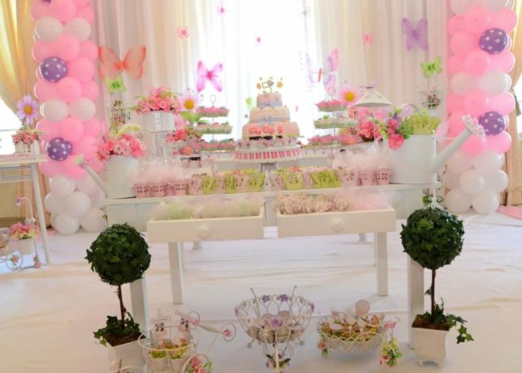 fiestas infantiles globos mariposas chica cumpleanos mesa
