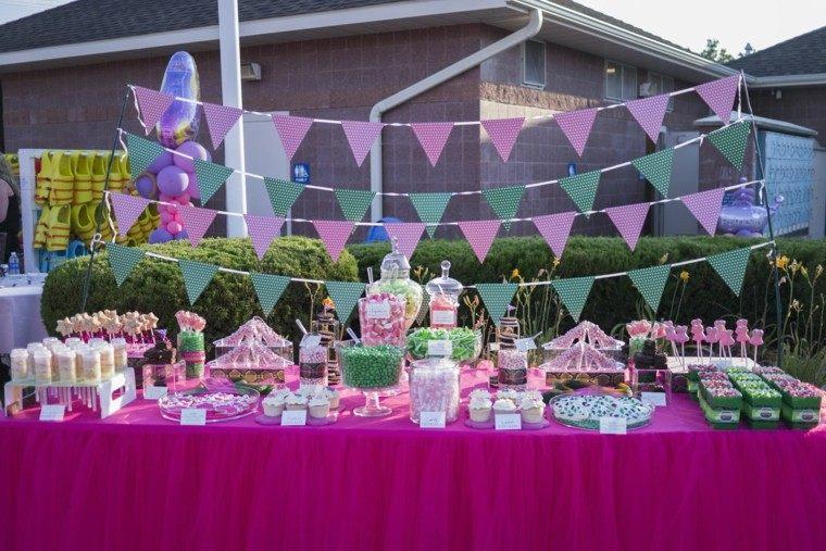 fiestas infantiles mesa rosa golosinas ninos ideas