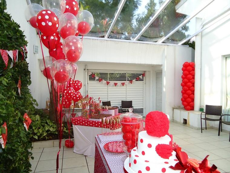fiestas infantiles rojo blanco globos pastel ideas