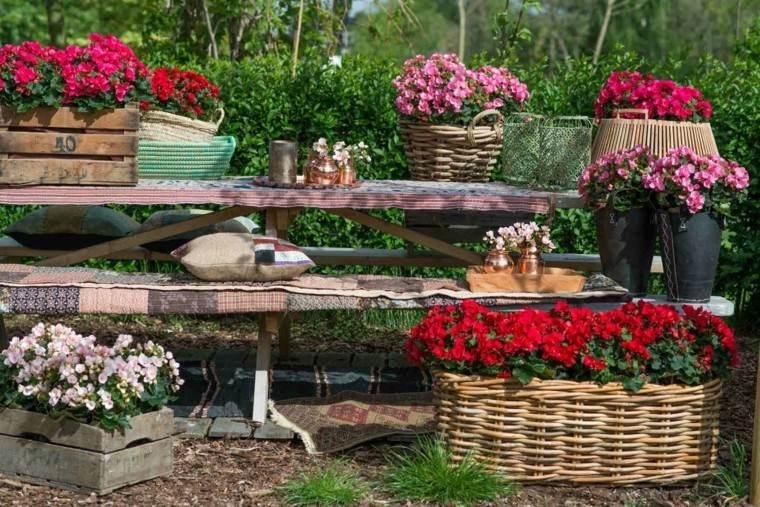 flores bonitas macetas cestos cajas madera ideas